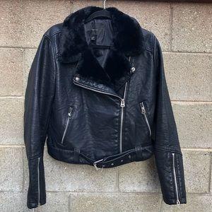 Forever 21 + Moto Biker Faux Leather Black Jacket